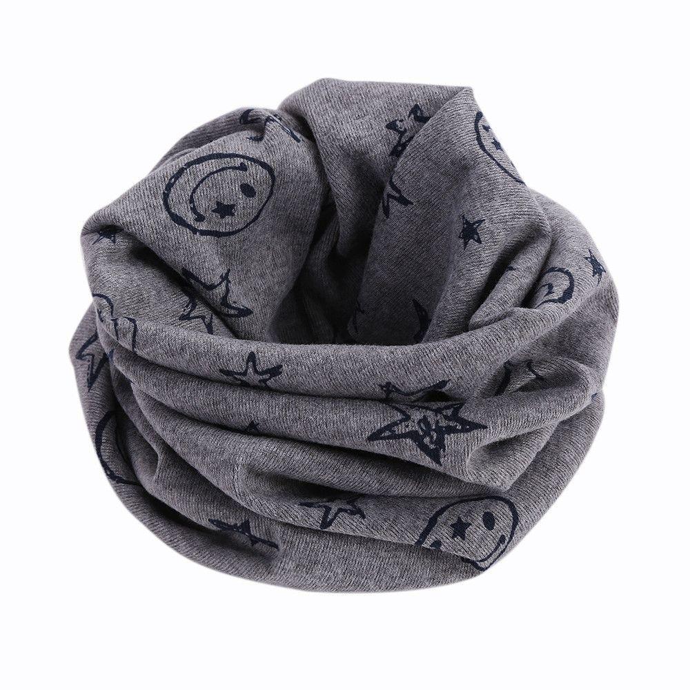 Del color del caramelo cabrito del algodón bufanda del invierno Estrellas cara de la sonrisa Imprimir bufandas del anillo o del bebé de la bufanda de regalo de Navidad del cuello por Echarpe Niño