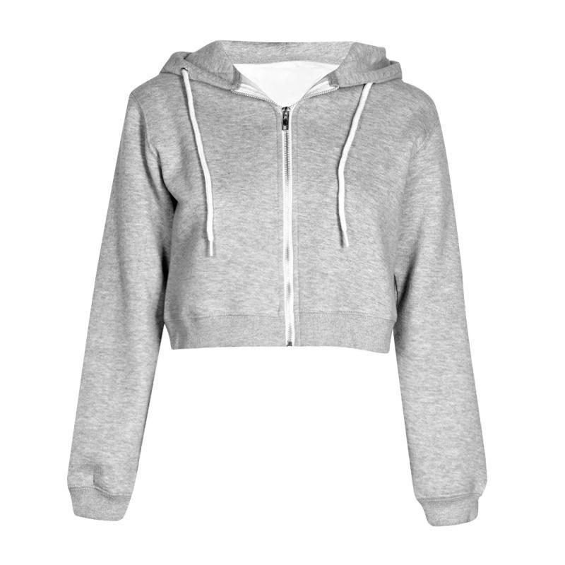 Kadın Sonbahar Bahar Tops İpli Kapşonlu Uzun Kollu Hoodie Tişörtü Zip Up Kırpma Rahat Ceket Fermuar Coat Dış Giyim Y200107