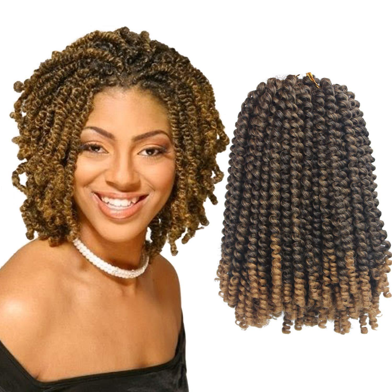 8inch synthétique jamaïcain Bounce courte extension de cheveux moelleux Afro printemps Twist Crochet tresses 1 Pack Bomb Twist Crochet cheveux