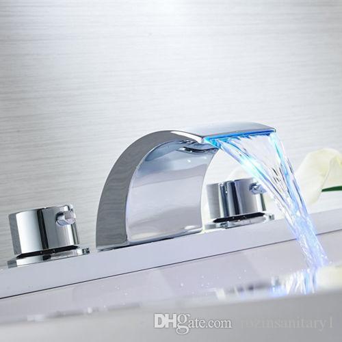 الحمام على نطاق واسع بالوعة الحنفية LED شلال الكروم حوض استحمام 8-16inch خلاط صنبور