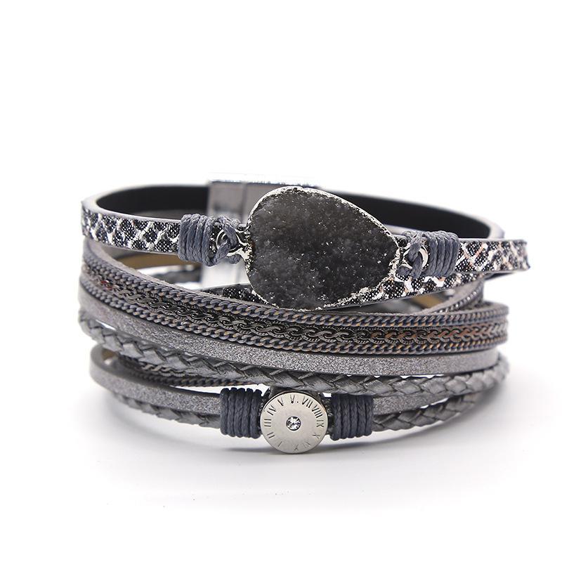 diseñador de joyas de lujo las mujeres pulseras imán de piedra natural hebilla de cuero de la PU de múltiples capas de la pulsera de los hombres NE1145 pulsera
