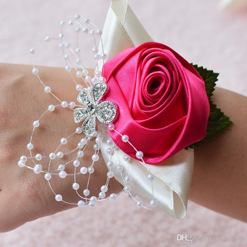 Hot Sale Wedding Bridal Wrist Flower Stain Flower And Pearl Bridesmaid Hand Flowers Summer Beach Wedding Bridal Supplies