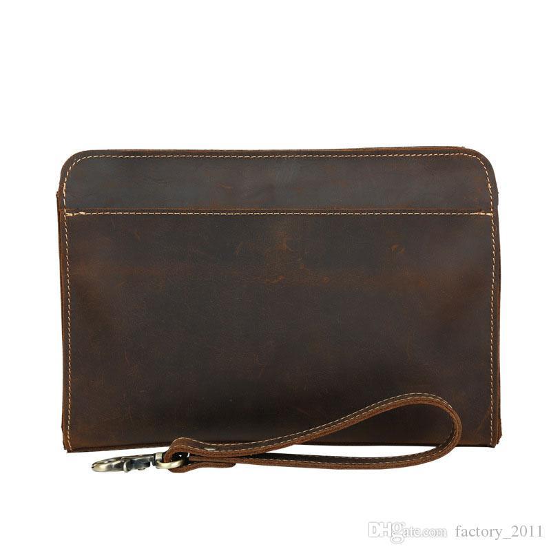 크레이지 호스 가죽 빈티지 클러치 전화 지갑 클러치 백 멀티 기능 남자 지갑 판매 LX4022에 대 한 어두운 갈색 색상