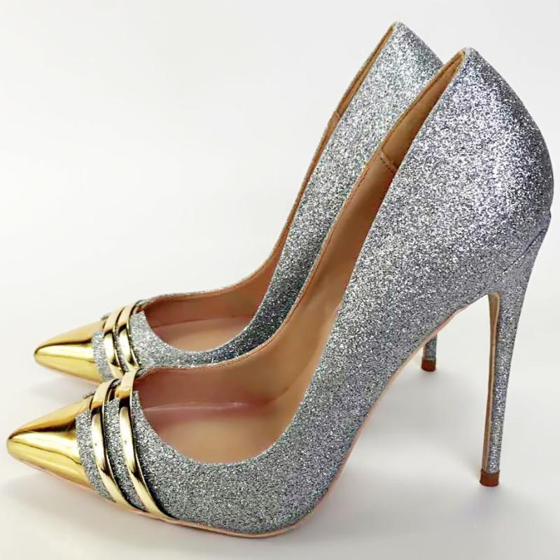 Обувь платье Кешанцзя 2021 Сексуальные Женщины Серые Блешиные Насосы Высокие каблуки Женщина Заостренный Ножим Недорогой Свадебный блеск