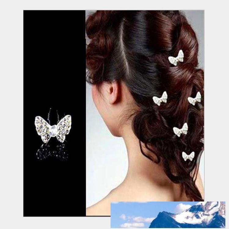 Elegante casamento Acessórios para Cabelo nupcial Rhinestone borboleta U Mulheres Partido alfinetes de cabeça Pieces nupcial cabeça Pieces