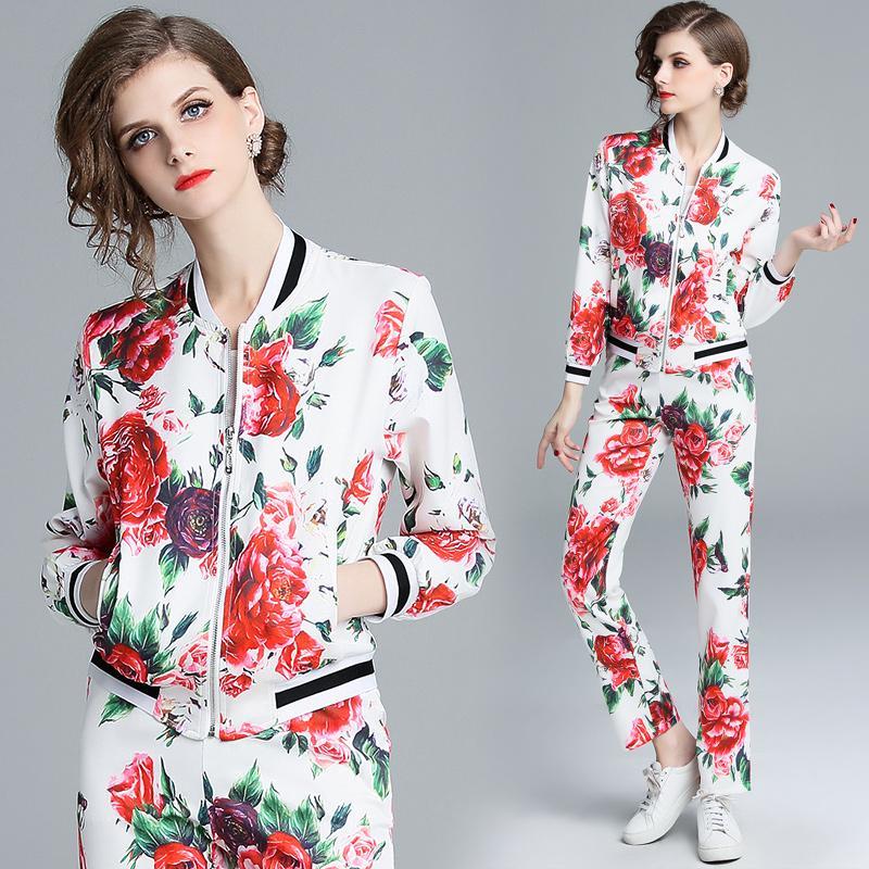2019 ilkbahar kadın moda ahbap güller Uzun pantolon takım elbise kadın 2 adet setleri baskı fermuar ceket + çiçek baskılı