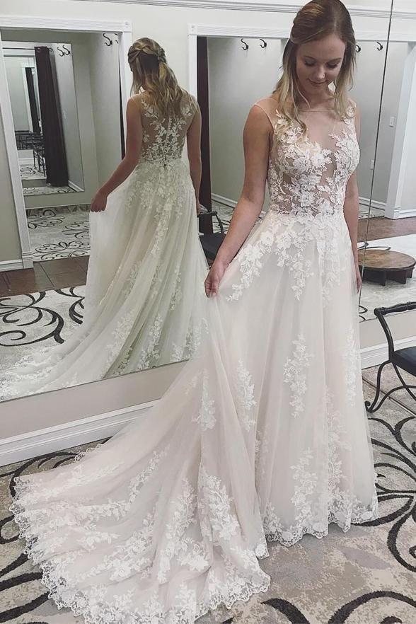 2020 Nueva ver a través de la playa vestidos de novia Sexy Un Apliques de verano Línea de encaje de Bohemia Vestidos de novia Vestidos de novia por encargo
