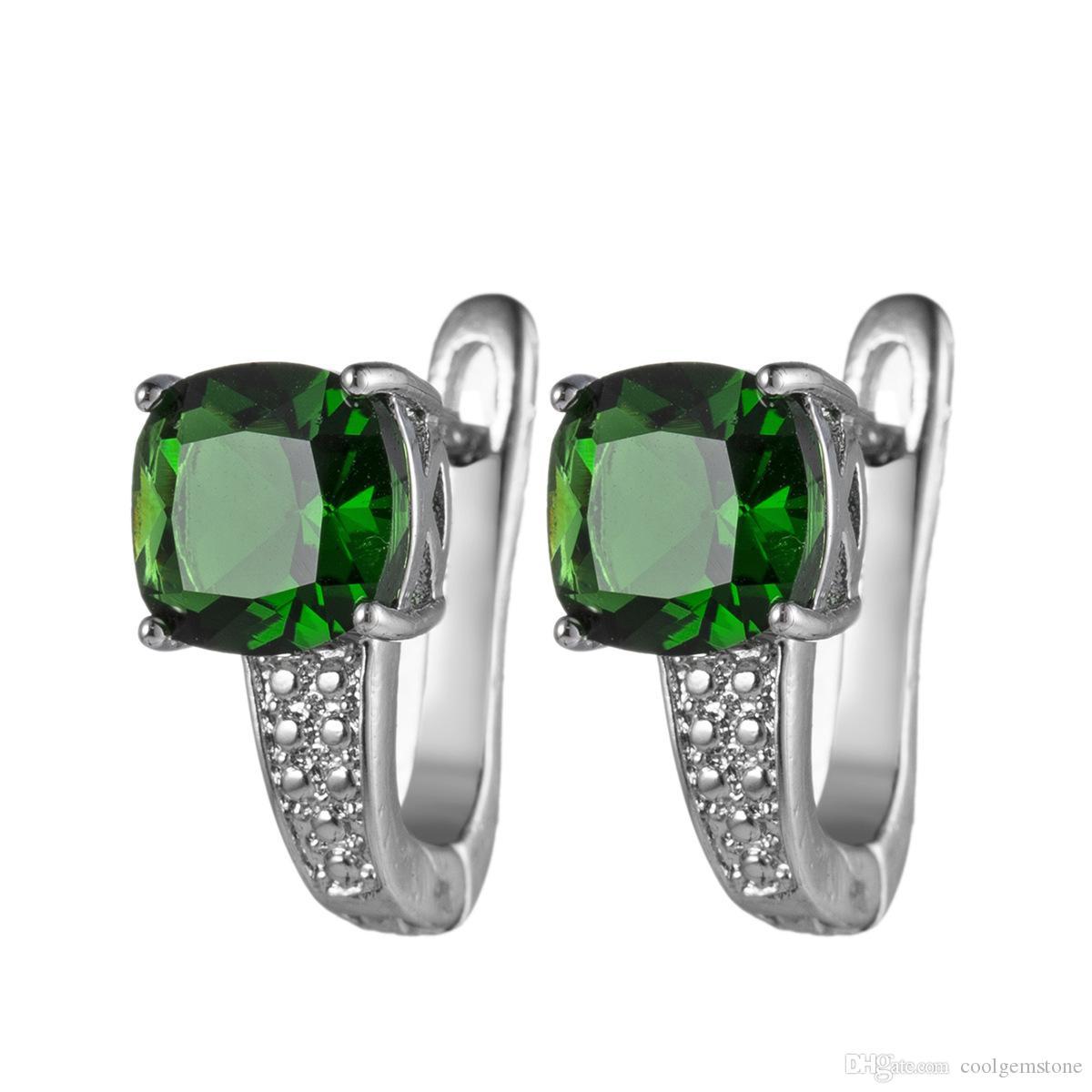 Luckyshine 12 Pair Matka Prezent Biżuteria Okrągły Szmaragd Szmaragd Gemstone 925 Srebrny Greem Cyrkon Huggie Kolczyki Hurtownie