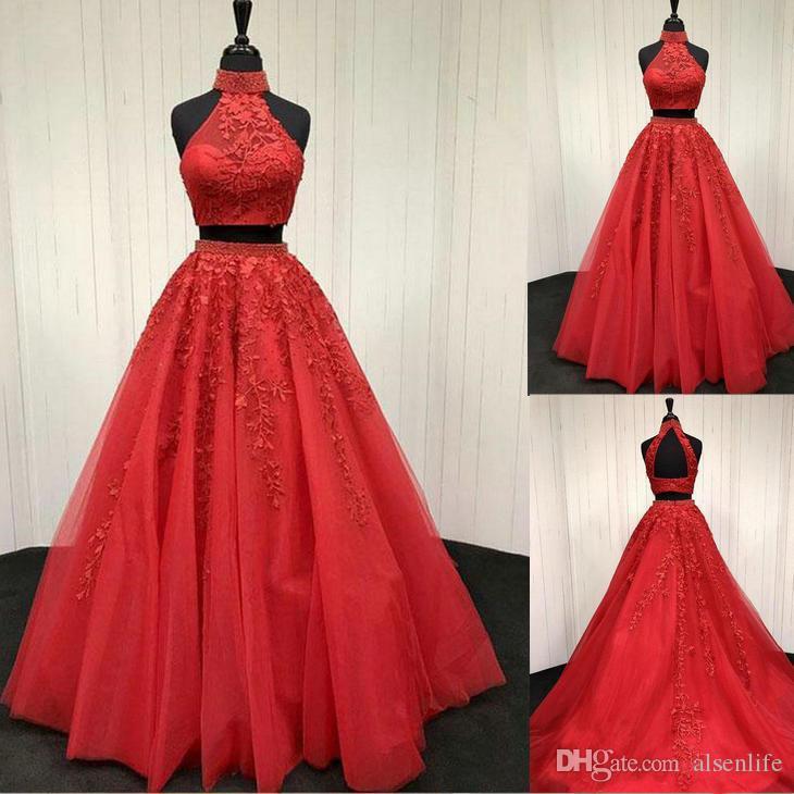 Jewel Red zwei Stücke Prom Dresses A Line Red Abendkleider Stehkragen Backless Partykleider nach Maß