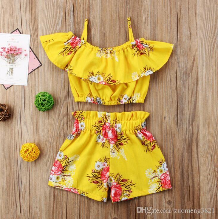 Neonate Outfits Fiore Pantaloncini bambini Set di abbigliamento estivi bambini vestiti stampati Ruffle Top + Shorts 2pcs Suits