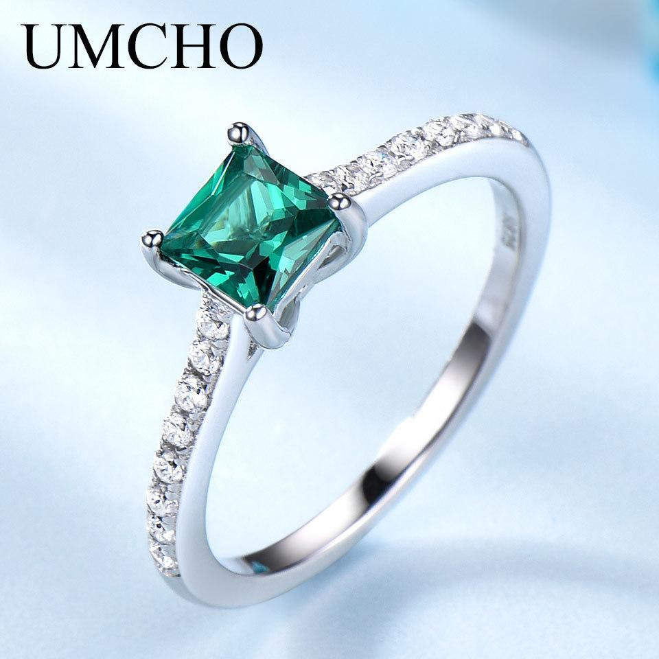 UMCHO Green Emerald Gemstone Rings for Women Genuine 925 Sterling Silver Fashion May Birthstone Ring Romantic Gift Fine Jewelry
