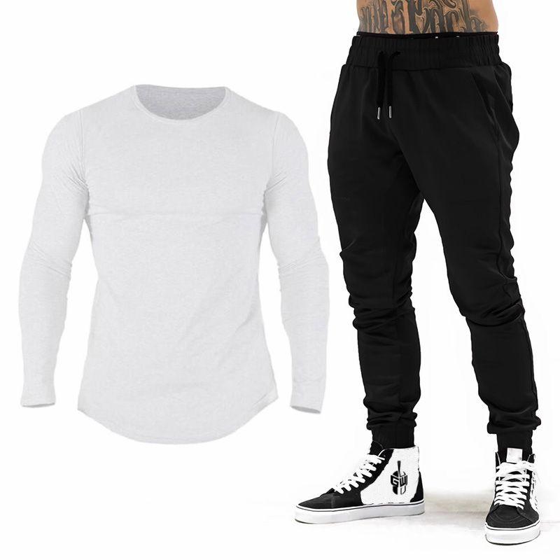 Marca Gym Roupa Treino Homens algodão manga comprida T-shirt + Joggers Pants Homens Musculação fitness Jogging Sweatpant Sweatsuit