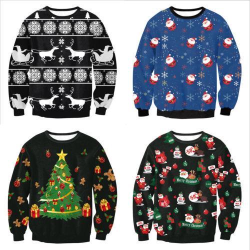 2019 Feio Natal Santa Impresso solto camisola Unisex Homens Mulheres pulôver Outono Inverno Ano novo Tops Xmas Roupas Dropshipping