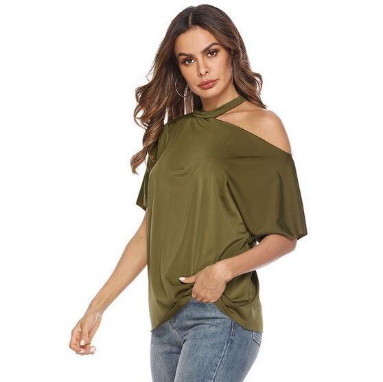02spring und Sommer neue Frauen T-Shirt hängen Hals trägerloses Hemd Kurzarm