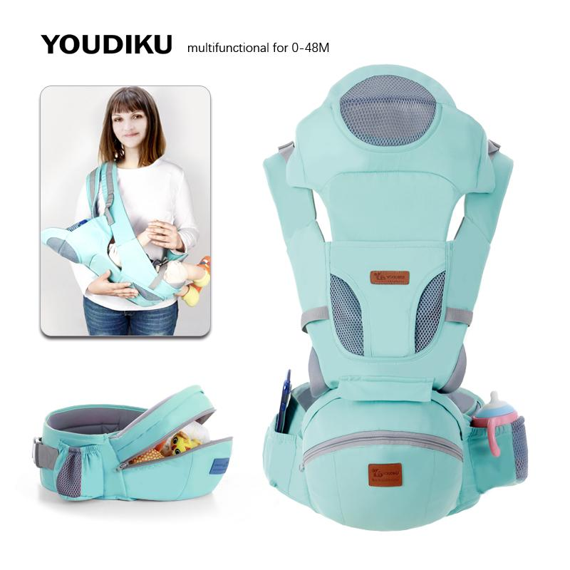 Cheap Backpacks & Carriers Ergonomic Carrier 0-48M Hipseat Carrier Front Facing Ergonomic Kangaroo Baby Wrap Sling for Baby Travel