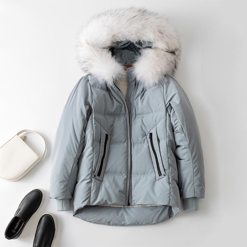 Вниз пальто женщин зима толстый теплый 90% белая утка пуховик женский реальный енот меховой отделкой капюшоном моды короткий дизайн НПИ 81024B