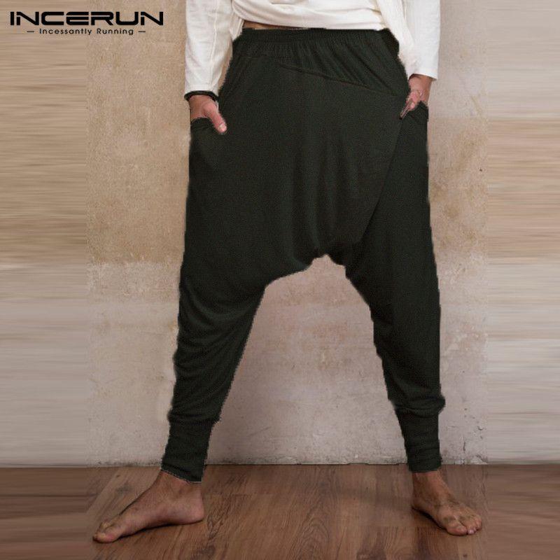 인도 남성 닌자 헐렁한 하렘 바지 느슨한 피트니스 낮은 드롭 가랑이 바지 댄스 패션 펑크 아저씨 Pantalon