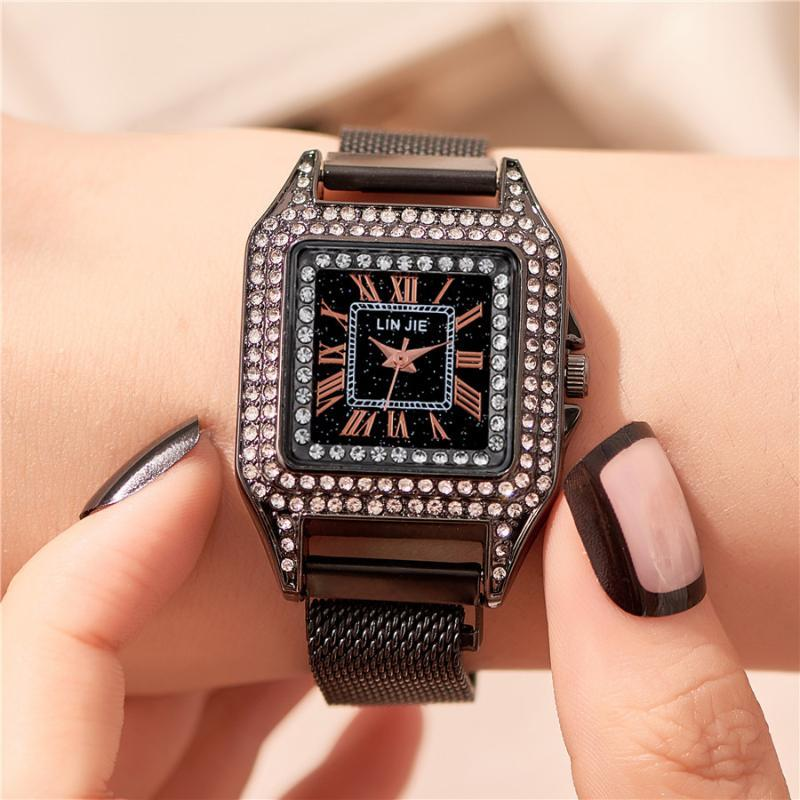 Montre femme carrée diamant montre à quartz femmes Montres Casual magnétique montre-bracelet des femmes élégantes dames Femme horloge