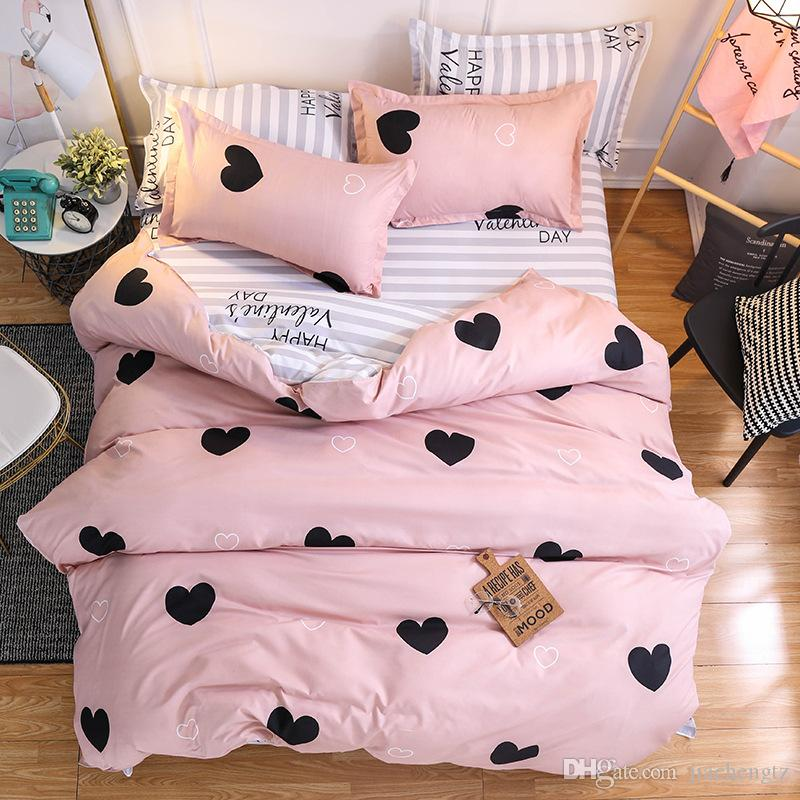 Yeni karikatür pembe aşk yatak takımları 4 adet modern basit hayvan desen yatak astarları kral nevresim çarşaf yastık kılıfları kapak seti