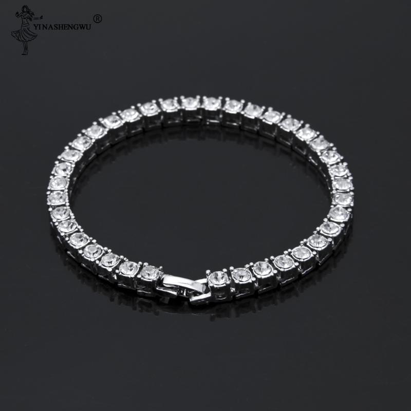 Luxus 4mm Zirkonia Tennis Armbänder Iced Out Kette Kristall Hochzeit Armband für Frauen Männer Gold-Silber-Farben-Armband-19CM