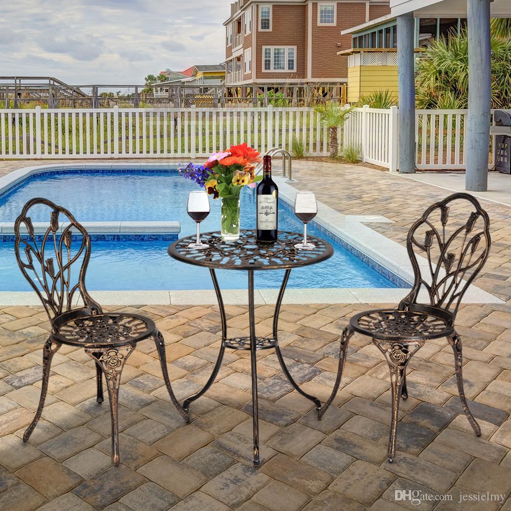 купить оптом 3 шт бистро набор литой тюльпан дизайн античная открытый мебель патио всепогодный сад алюминиевый стол и стулья с отверстием зонтика