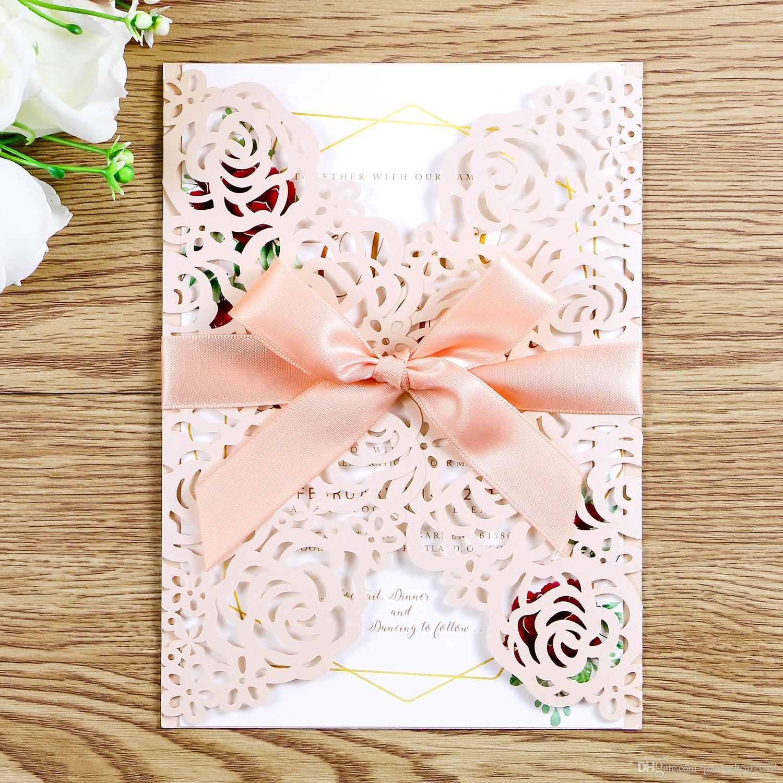Carte dell'invito di nozze di alta qualità messe busta vuota dell'invito busta carte interne fiocco Ribbo solido elegante rifornimenti del partito di cerimonia nuziale LP034