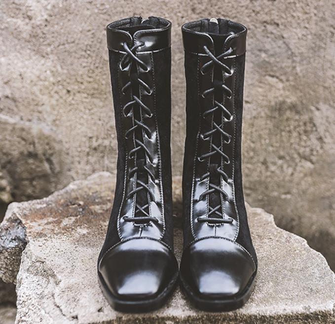Sıcak Satış-Siyah martin çizmeler 4cm tıknaz topuk orta buzağı botlar kadın moda bağcıklı süet deri patchwork kış ayakkabı 3986-1