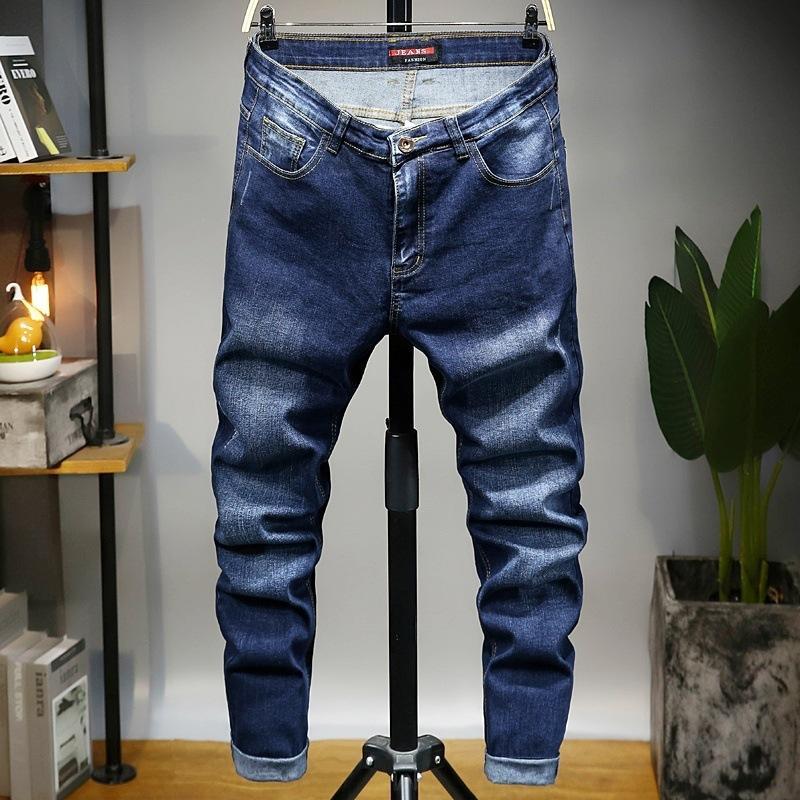 Мужские джинсы весенние мужские полнометражные молния отбеленные прямые свободные плюс размер джинсовые плиссированные ковбойские брюки мужской