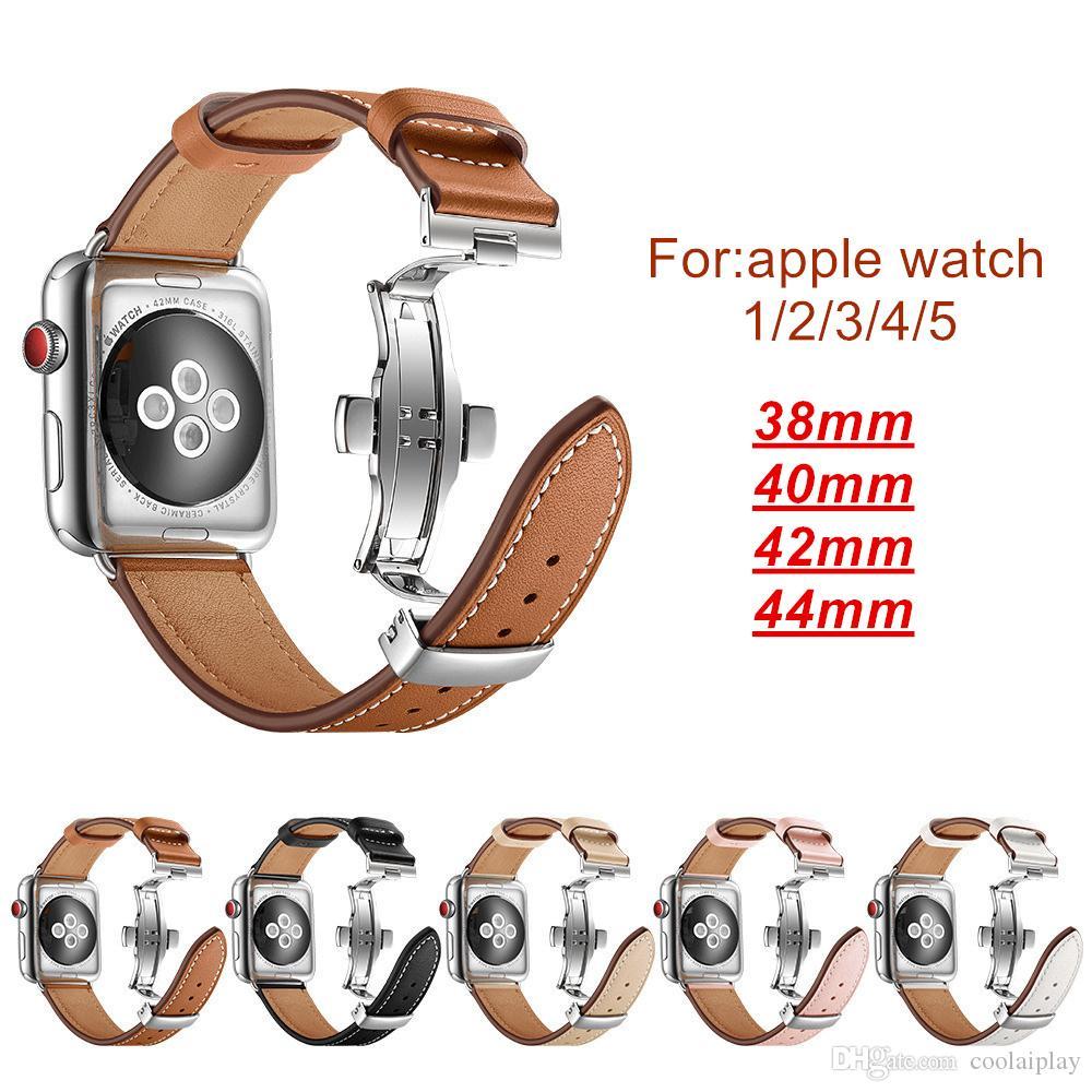 Роскошные Подлинная кожаные часы группы аксессуары для Apple часы 1/2/3/4/5 классический ремешок для яблочного iwatch 38мм 40мм 42мм 44 мм полосы