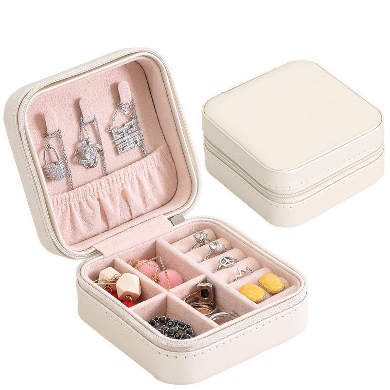 Caixa De Jóias Portátil Zipper Organizador De Armazenamento De Couro Titular de Jóias Exibição de Embalagem Caixa De Presente De Jóias De Viagem Caixas De Presente Para As Mulheres C19021601