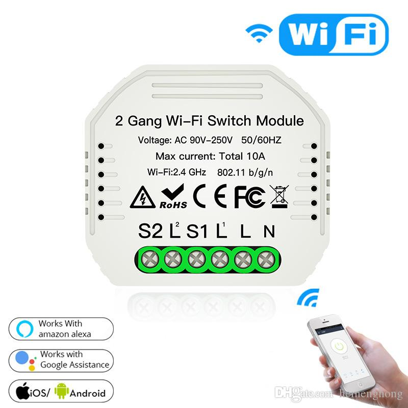 Smart WiFi Light Switch Module DIY repalce mur Swith vie intelligente / Tuya APP avec contrôle à distance Works Alexa Echo Google Home 2 Way Gang 1/2