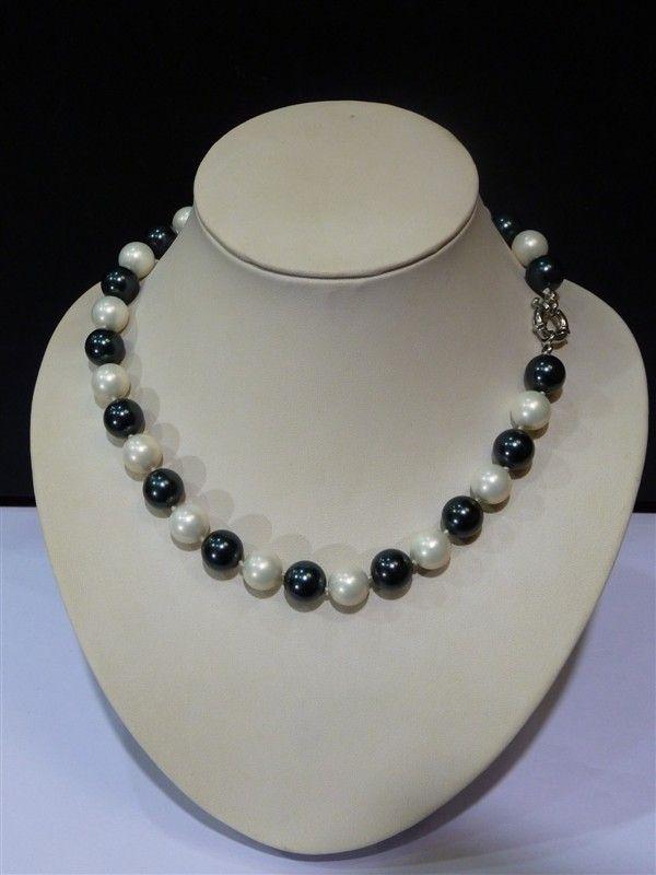 Mükemmel Gerçek 10mm Siyah Beyaz Güney Sea Shell İnci Kolye İnci Yeni uzun Triko zincir düğün Kadınlar Hediye kelimesi 925 gümüş