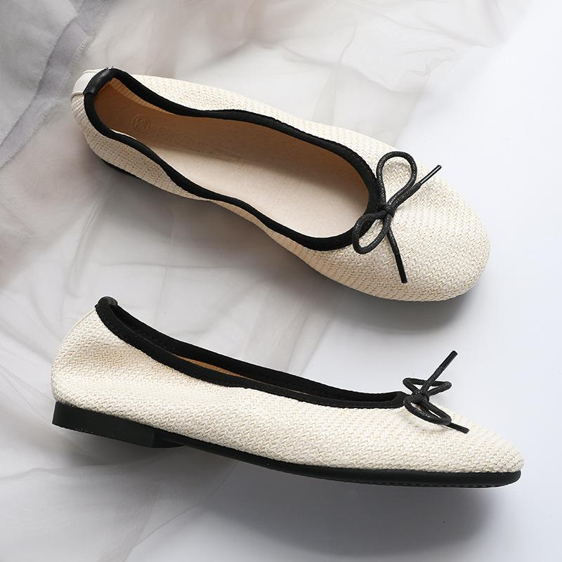 Fashion weaving single shoes woman comfy round toe bowknot ballet flats soft bottom comfy moccasins ladies brief shallow loafers