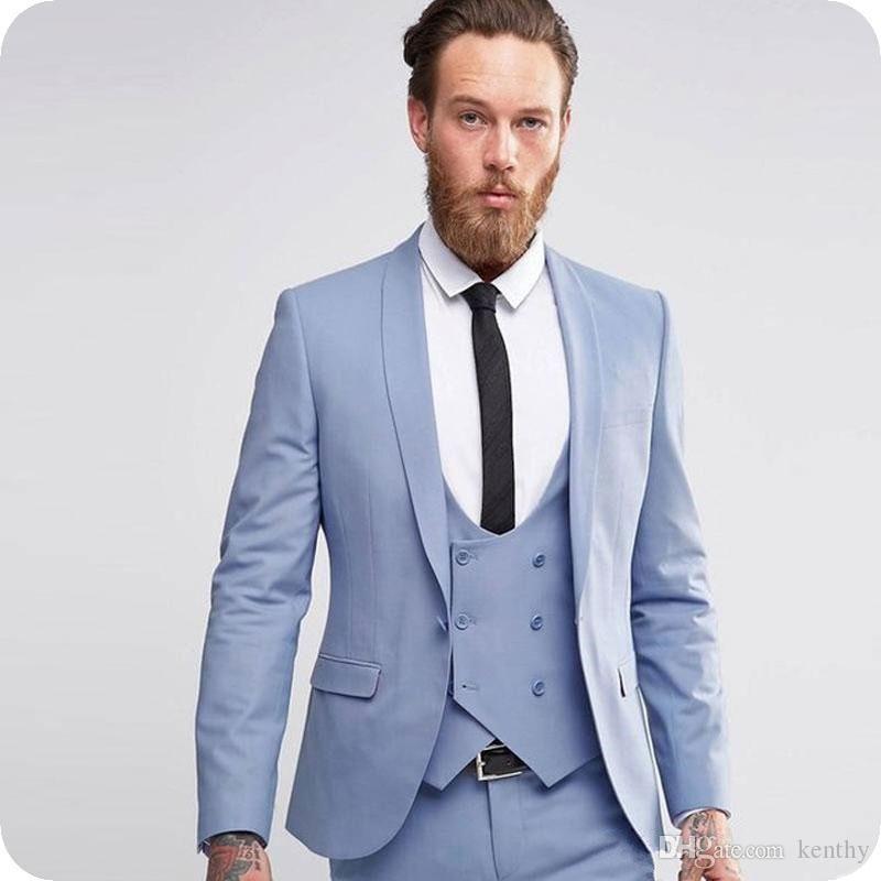 Son Coat Pant Mavi Damat smokin Düğün Erkekler Suits Şal Yaka 3piece Nazik Groomsmen Blazers Erkek Ceket Kostüm Homme Mariage Tasarımları