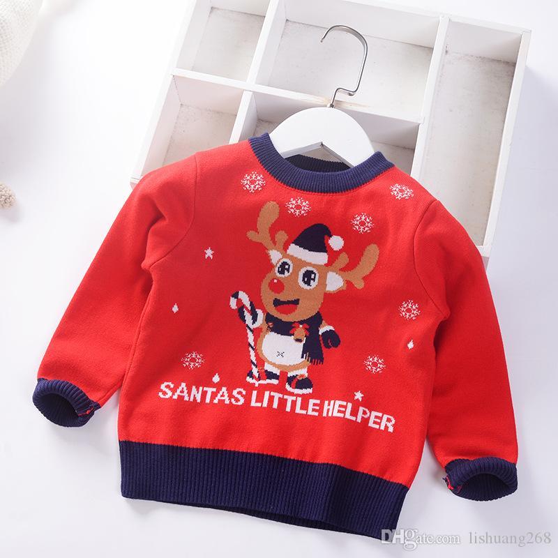 örme 2020 Yeni Sonbahar Kış Erkek Kazak Noel Kalınlaşmak çocuklar Çocuk Kazak Karikatür Giyim Jumper Erkek Bebek Kazak geyik