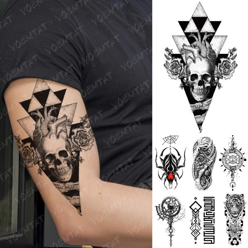 Do coração do crânio impermeável Tatuagem Temporária adesivo Triângulo flash Tattoos Aranha Tiger Geometria Braço Corpo Arte Falso Tatoo Mulheres Homens