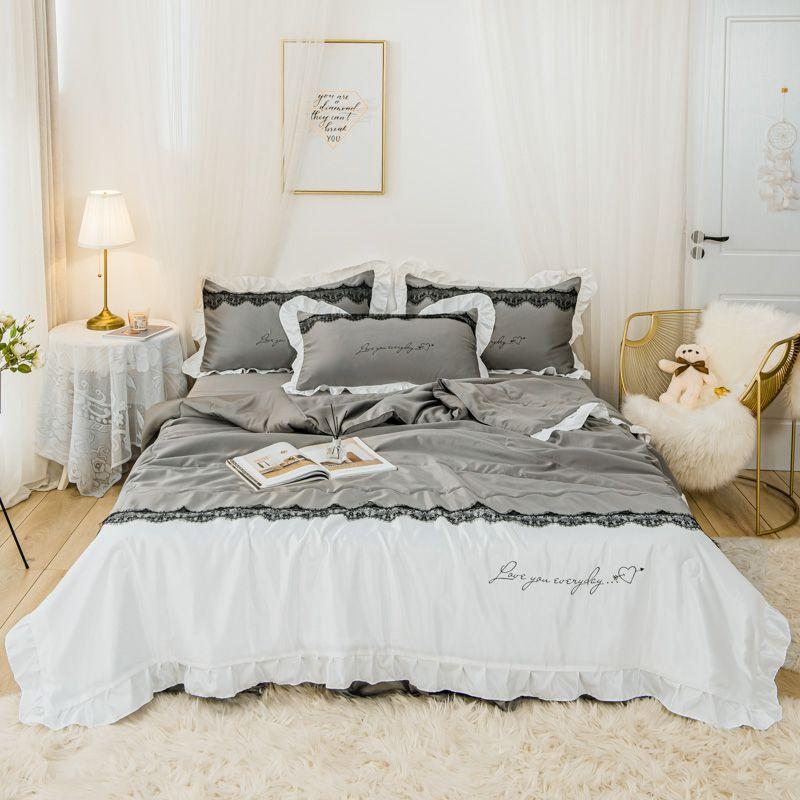 4 개 / 많은 두 색 이불 세트 여름 쿨 빨 실크 침구 세트 아름다운 침대 스커트 베개 에어컨 퀼트 T200615
