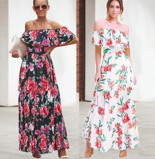 2020 nuovi modelli esplosione delle donne di estate della molla Europa Stati Uniti transfrontaliera collare temperamento stampa di modo vestono i vestiti casuali