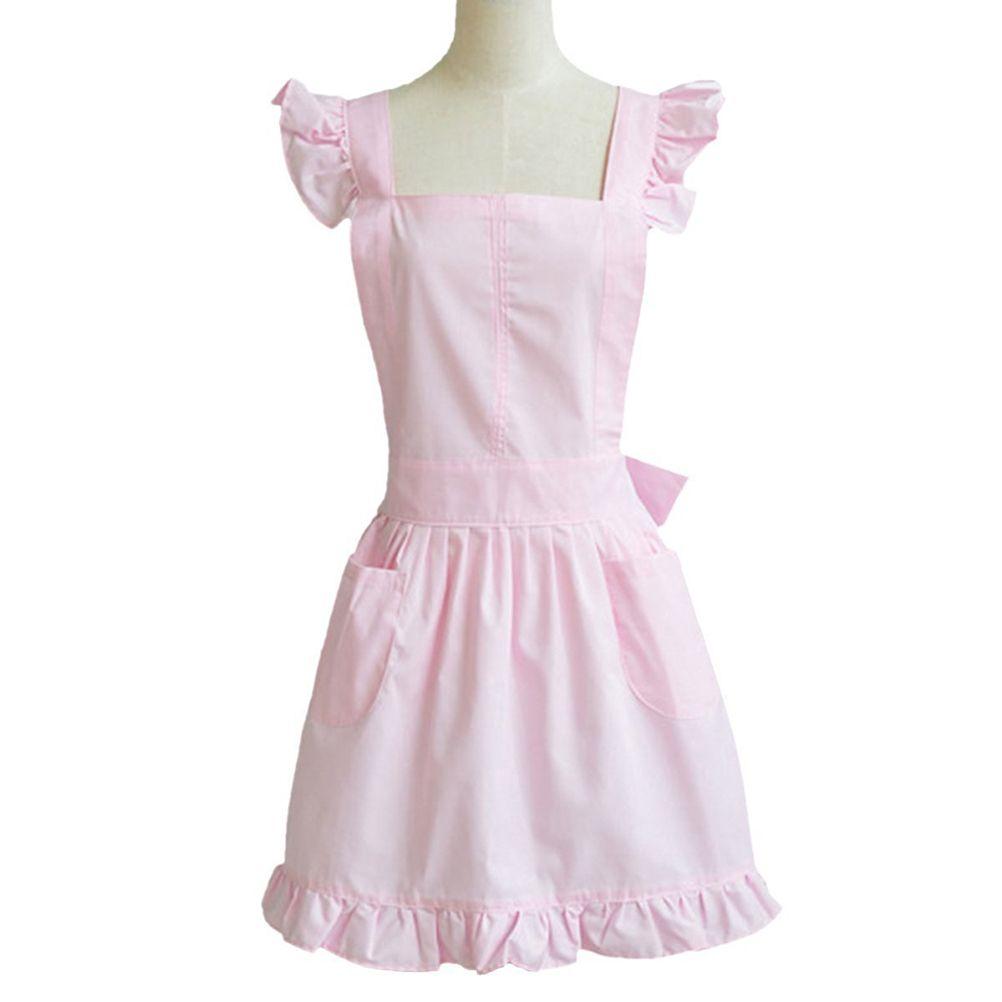 Ladies Victorian Pinafore Apron Maid Smock Costume Ruffle Pocket Fancy Dress UK