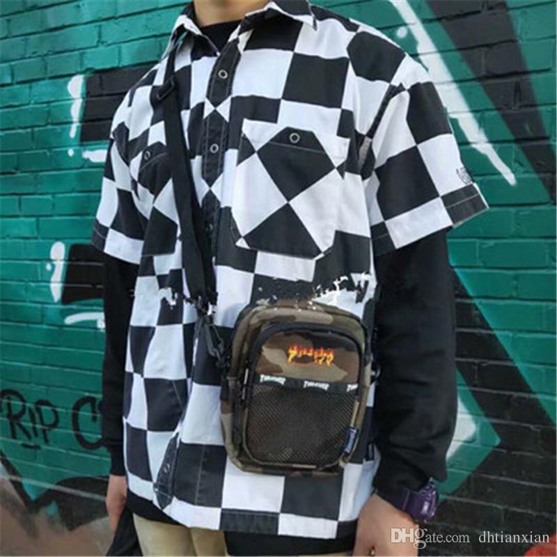 Sac à bandoulière décontracté Sac à bandoulière simple à la mode pour hommes et femmes Petits sacs à la mode Sac à poitrine à la mode Toile Sacs suspendus