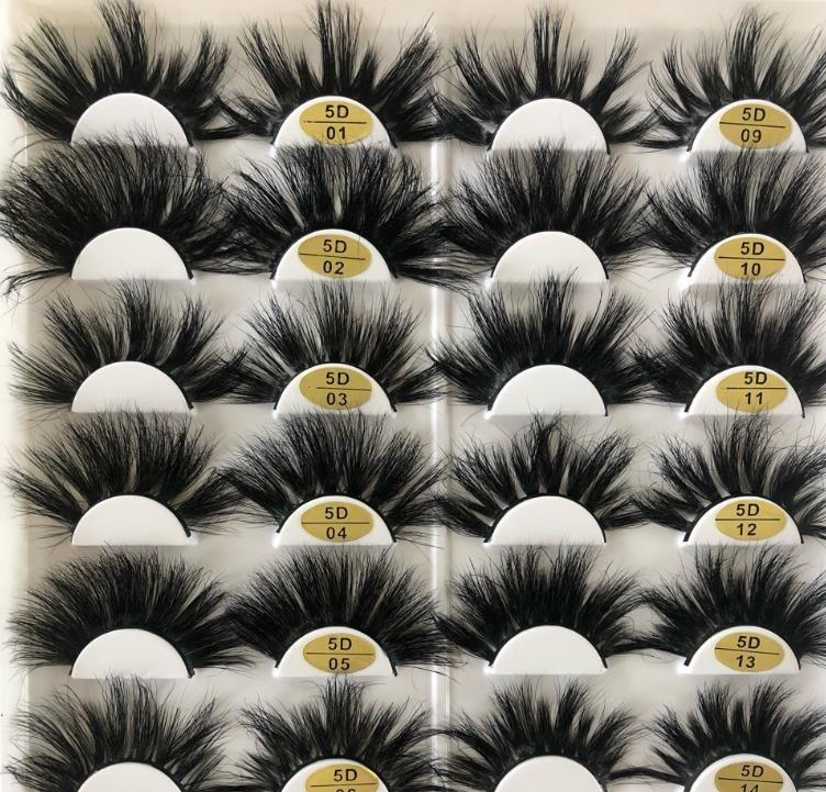 25MM طول الرموش زوج واحد 5D المنك الشعر الحقيقي جلدة سميكة رمش مبالغ فيه أدوات ماكياج 16 أنواع للاختيار