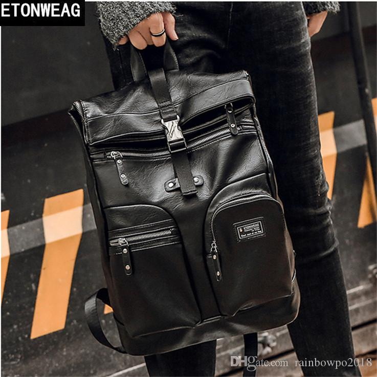 outlet brand men handbag high quality leather men backpack multi-functional compartment computer bag outdoor travel leisure leather backp