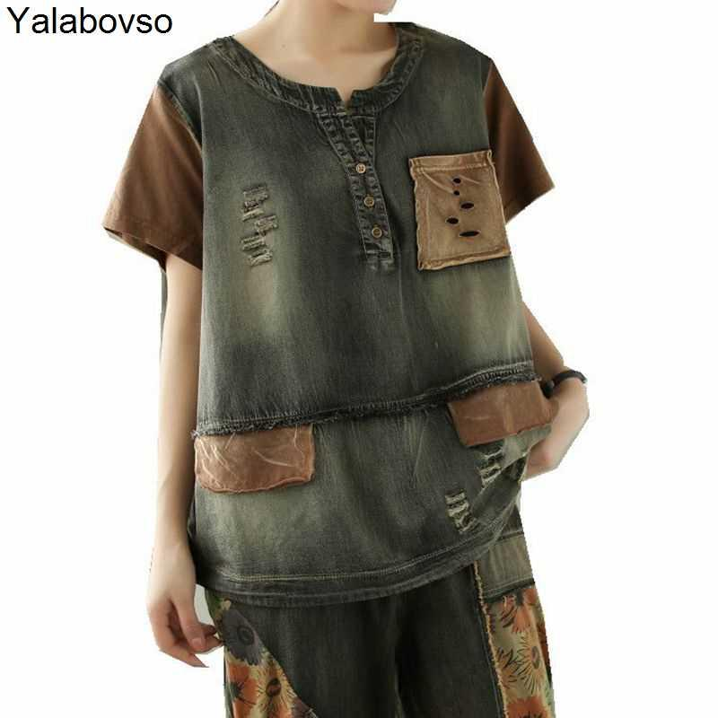 Frauen T-Shirt Yalabovso Patchwork Softner Denim T-shirts Frau Casual Ripping Tops 2021 Sommermode Damen Vintage Löcher T-shirts Frauen