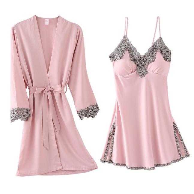 Lace 2PCS Sleep Set Nightgown Women Kimono Bathrobe Gown Satin Nighty&Robe Suit Intimate Lingerie Casual Nightdress Nightwear