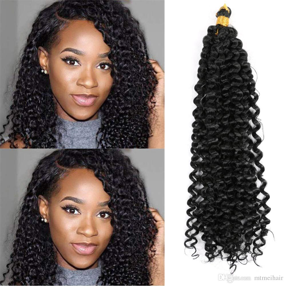 "Mtmei hair Braiding Hair-Extensions 14"" 24Strands 100g Water Wave Hair Bulk Black Brown Grey Purple Blonde Afro kinky Curly Crochet Hair"