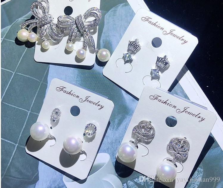 Atacado 5 pares / lotes de alta qualidade baixo preço diamante nobre de cristal zircão mais estilo aleatório earings das mulheres 15wewe