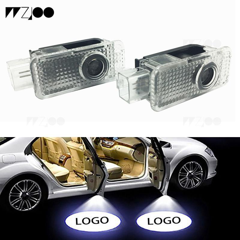 2 ADET Araba Kapı Işık Toyota BMW VW Için Audi Hoşgeldiniz Logosu Lazer LED Projektör Gölge Işık Ghost Hafif Dekoratif Lambalar