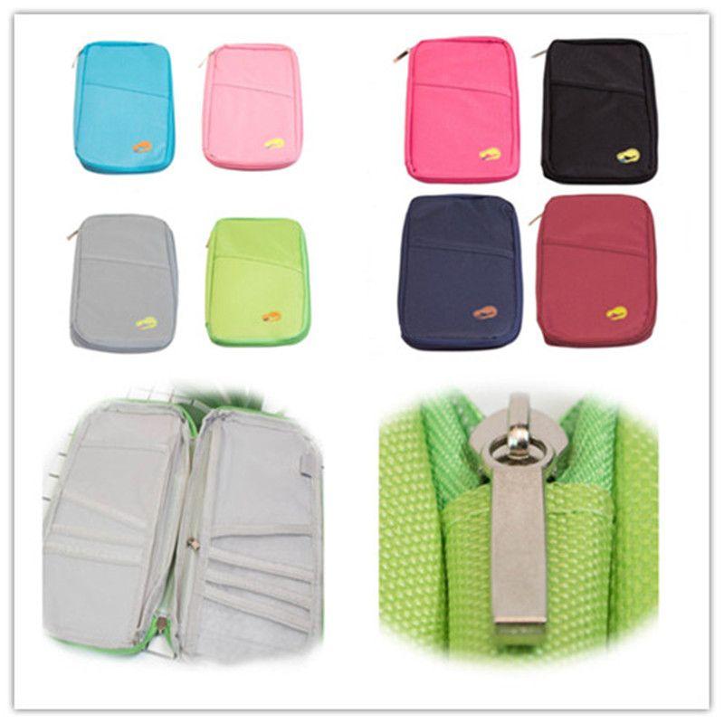 Multifunction Passprot Holder Protable Zipper Credit Card Hanbags Men Women Storage Bag Ticket Card Slot Travel Wallet Phone Holder A22804