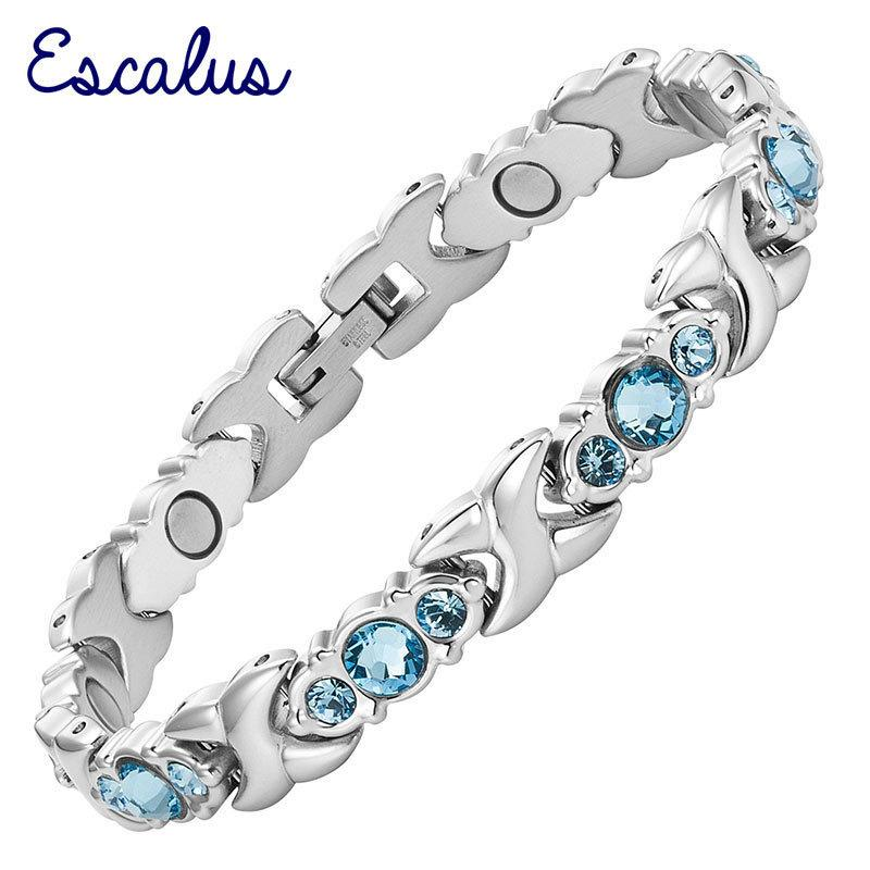Escalus 24pcs Blue Crystals Magnetic Bracelet For Women Silver Color Stainless Steel Link Chain New Bracelets Jewelry Gift J190620