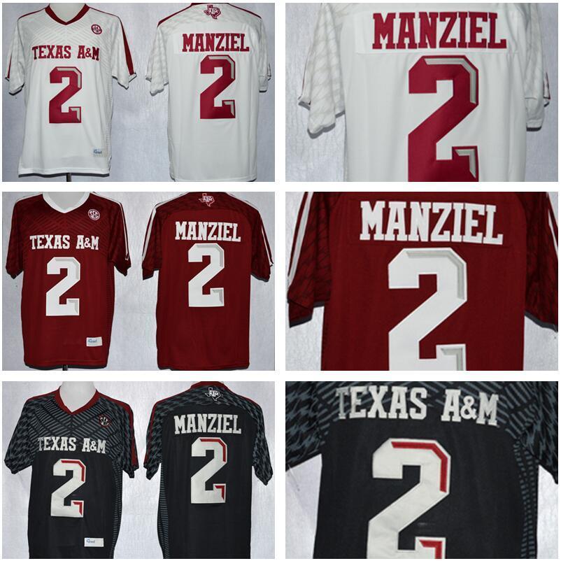NCAA Texas Am Aggies 2 Johnny Manziel Jersey Men Bambini uomo Gioventù Red Black Bianco Bianco Uomini College Football Cucito Buona vendita calda